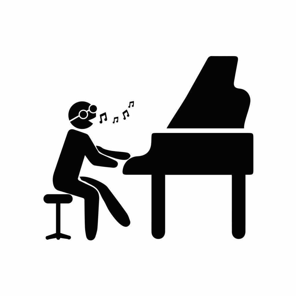 Vector image of figure playing a grand piano with musical notes floating out of his mouth